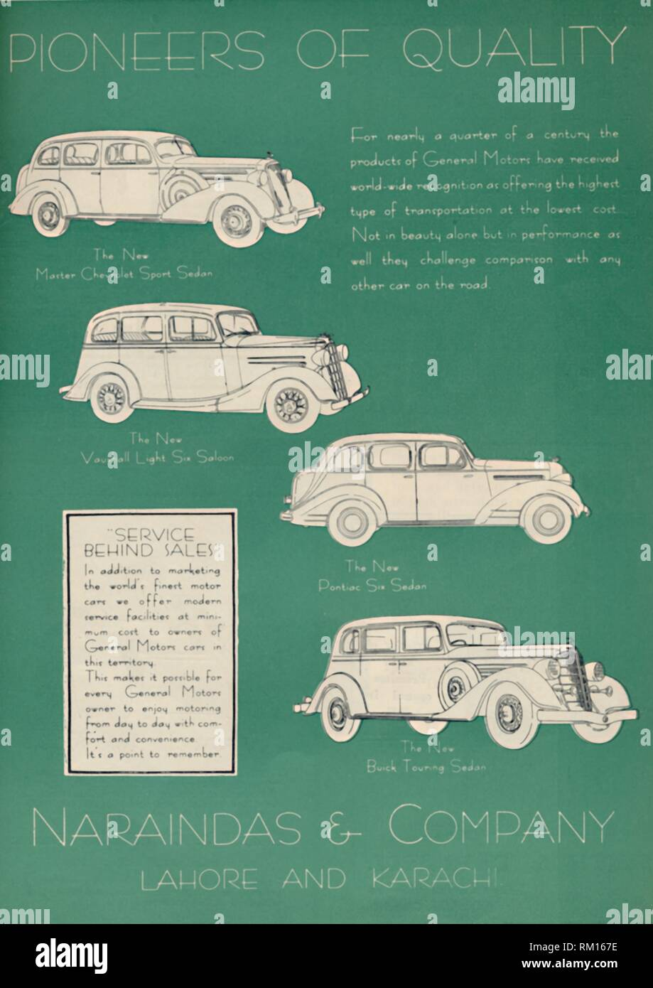"""Advertisement for Naraindas & Company, suppliers of motor cars, 1936. Naraindas, based in Lahore and Karachi (at that time part of British India), supplied cars manufactured by General Motors such as Chevrolets, Pontiacs and Buicks. From """"The Civil and Military Gazette"""" Annual, 1936. [India, 1936] - Stock Image"""