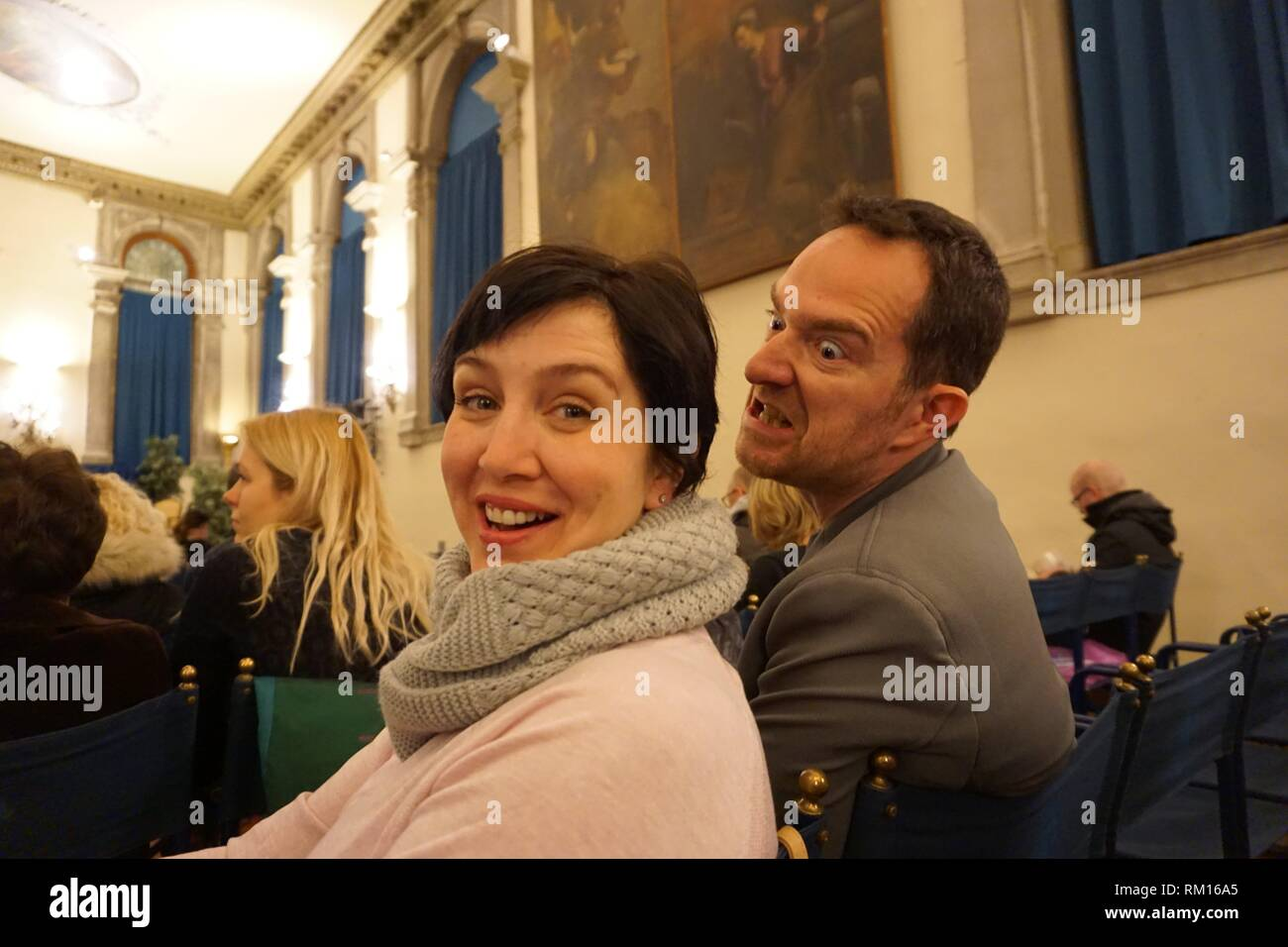 Angry for some reason at an opera concert. Scuola di San Teodoro. Venice, Venero, Italy, Europe. - Stock Image