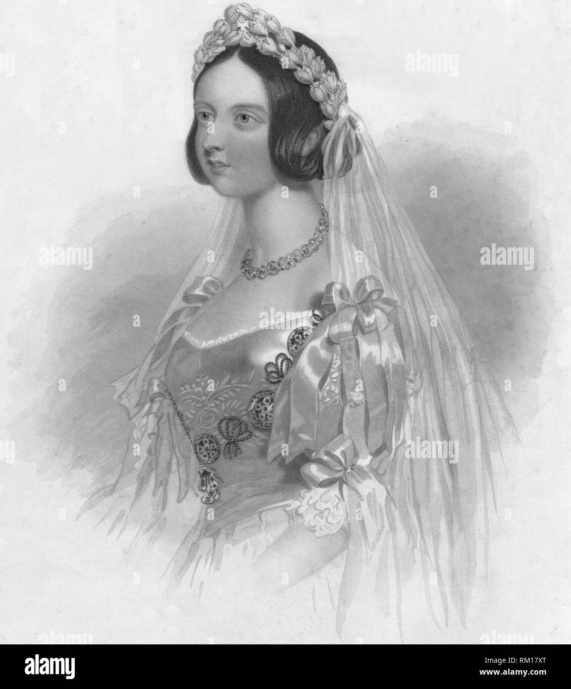 'The Queen in her Bridal Dress', 1840. Creator: William Henry Mote. - Stock Image