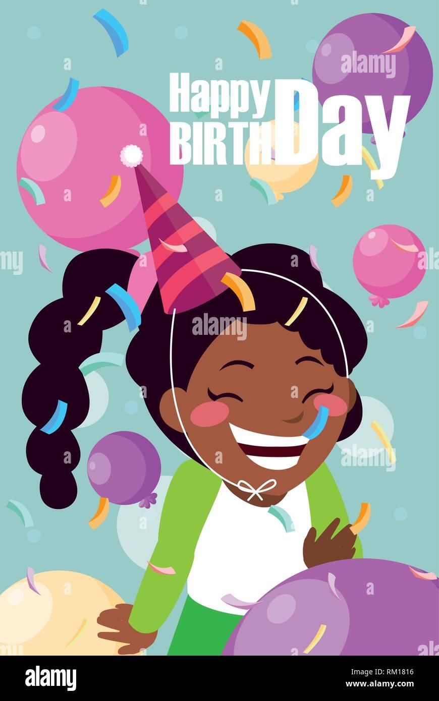 Birthday Card With Little Black Girl Celebrating Vector Illustration