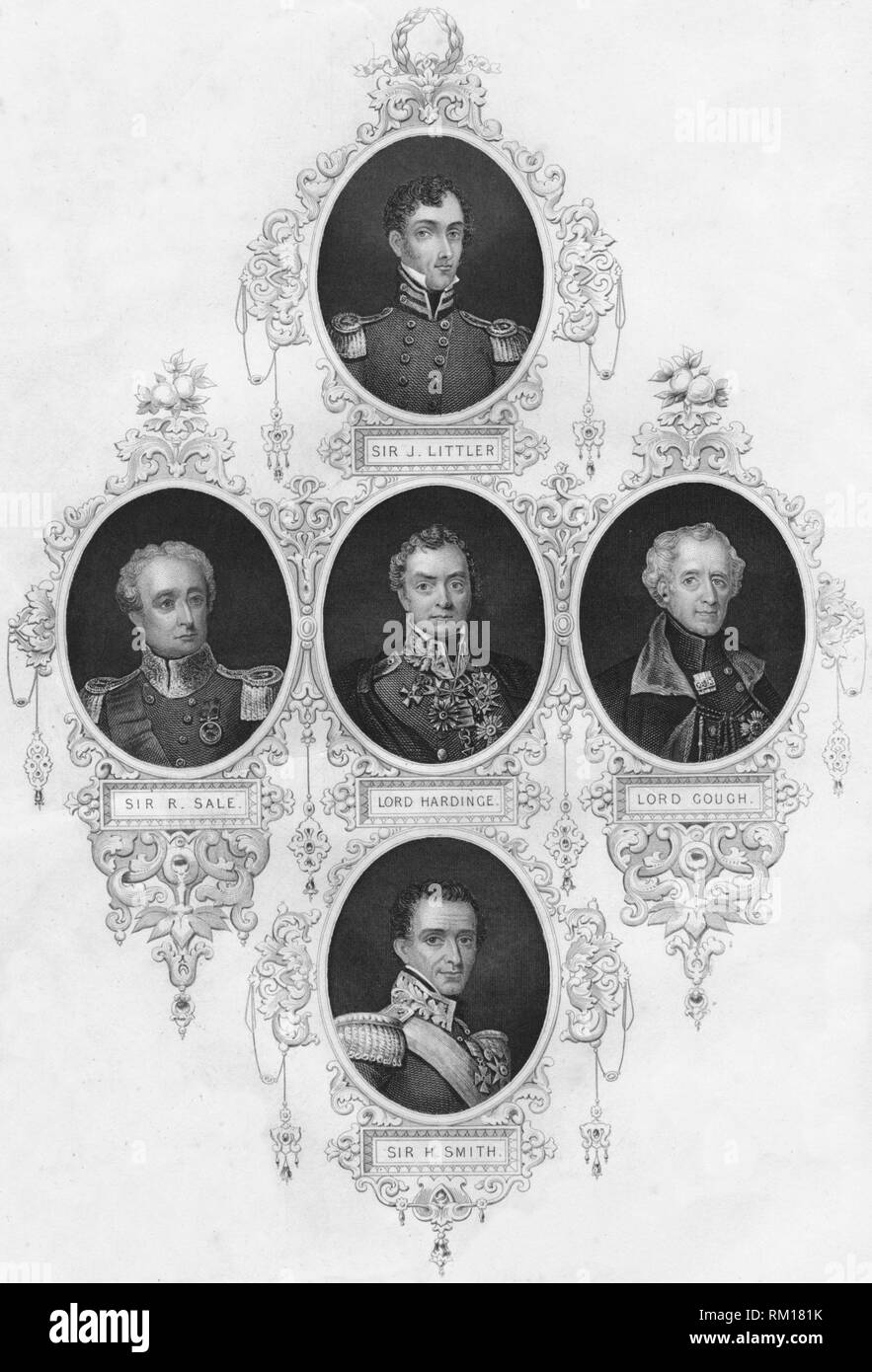 Medallion portraits of British military figures, (mid 19th century). Portraits of commanders who furthered the imperialist cause in India and other colonial possessions: General Sir John Littler (1783-1856), lieutenant-general in the British Indian army, who fought in the 1st Anglo-Sikh War (1845-1846); Sir Robert Henry Sale (1784-1845), British soldier who served mainly in India and Afghanistan and rose to the rank of Major-General in the army of the British East India Company; Henry Hardinge, 1st Viscount Hardinge (1785-1856), British field marshal and Governor-general of India; Hugh Gough,  - Stock Image