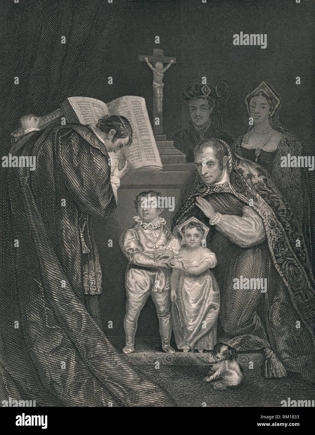 'The Marriage of Richard Duke of York. (Brother to Edward V.)', 1478, (1821), (mid 19th century). Engraving after a painting made in 1821, depicting the marriage of Richard of Shrewsbury, Duke of York (1473-1483) and Anne de Mowbray, 8th Countess of Norfolk (1472-1481). They were married in St Stephen's Chapel in Westminster, London, when Richard was about four years old and Anne was five. Richard and his older brother Edward ('The Princes in the Tower'), mysteriously disappeared shortly after Richard III usurped the throne of England in 1483. [John Tallis & Company, London & New York] - Stock Image