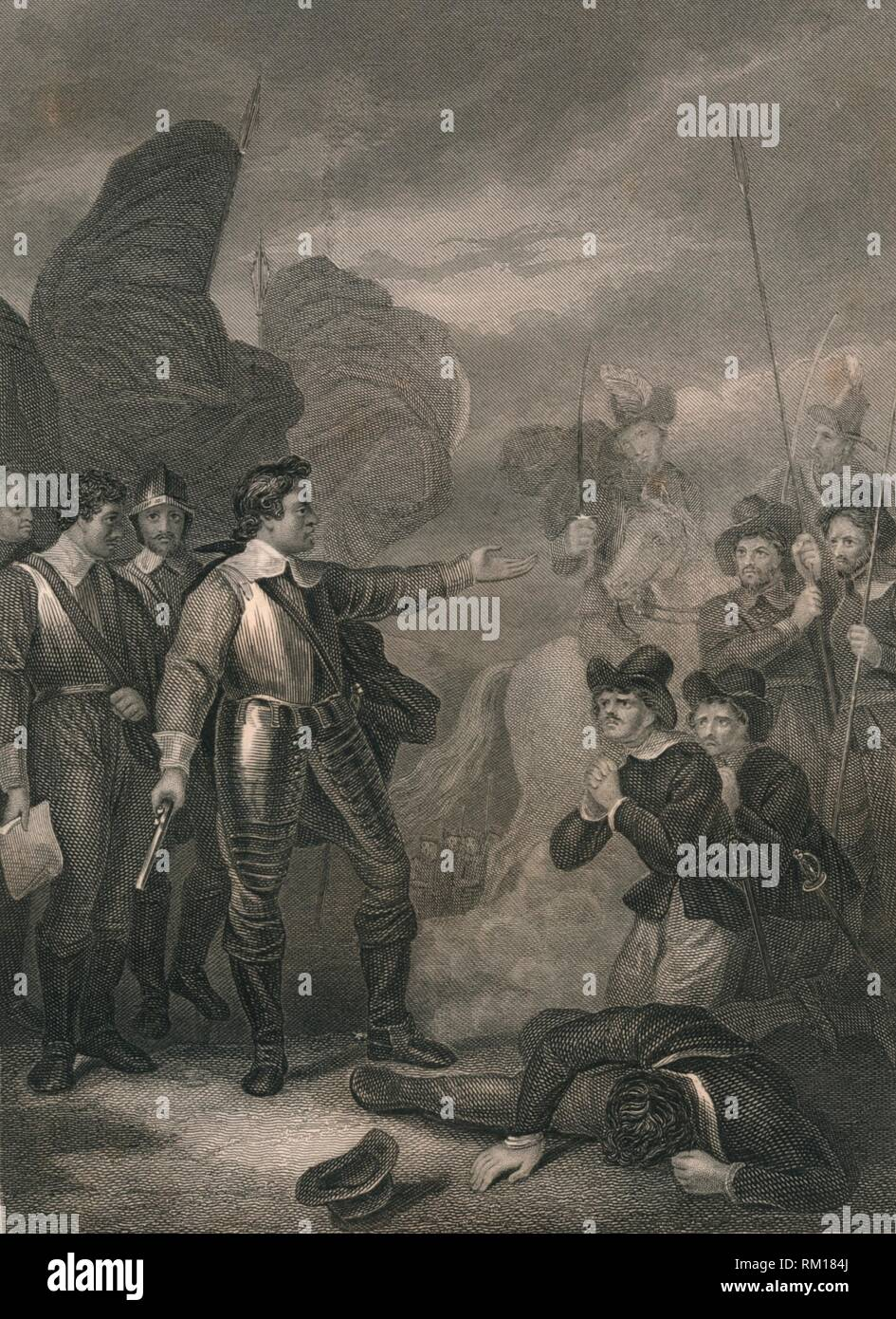 'Cromwell Suppressing The Mutiny in the Army', c1640s, (mid 19th century). Oliver Cromwell (1599-1658), English military leader and politician, bringing his troops under control during the English Civil War. [John Tallis & Company, London & New York] - Stock Image