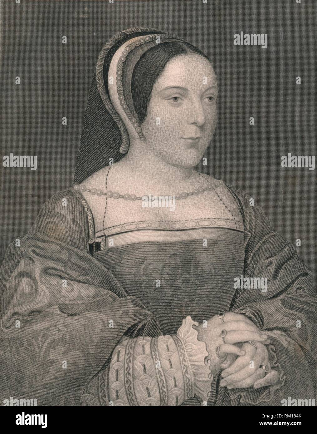 'Margaret Tudor. Queen of Scotland', c1525, (early-mid 19th century). Portrait of Marie d'Assigny, Madame de Canaples (1502-1558, wife of Jean de Créquy), dressed as Margaret Tudor (1489-1541, queen consort of King James IV of Scotland). Engraving after a painting made c1525, the year that Marie d'Assigny, a lady at the court of King François I of France, married Jean de Crequi, sire de Canaples. Painting in the collection of the National Galleries of Scotland, Edinburgh. [The London Printing and Publishing Company, London] - Stock Image