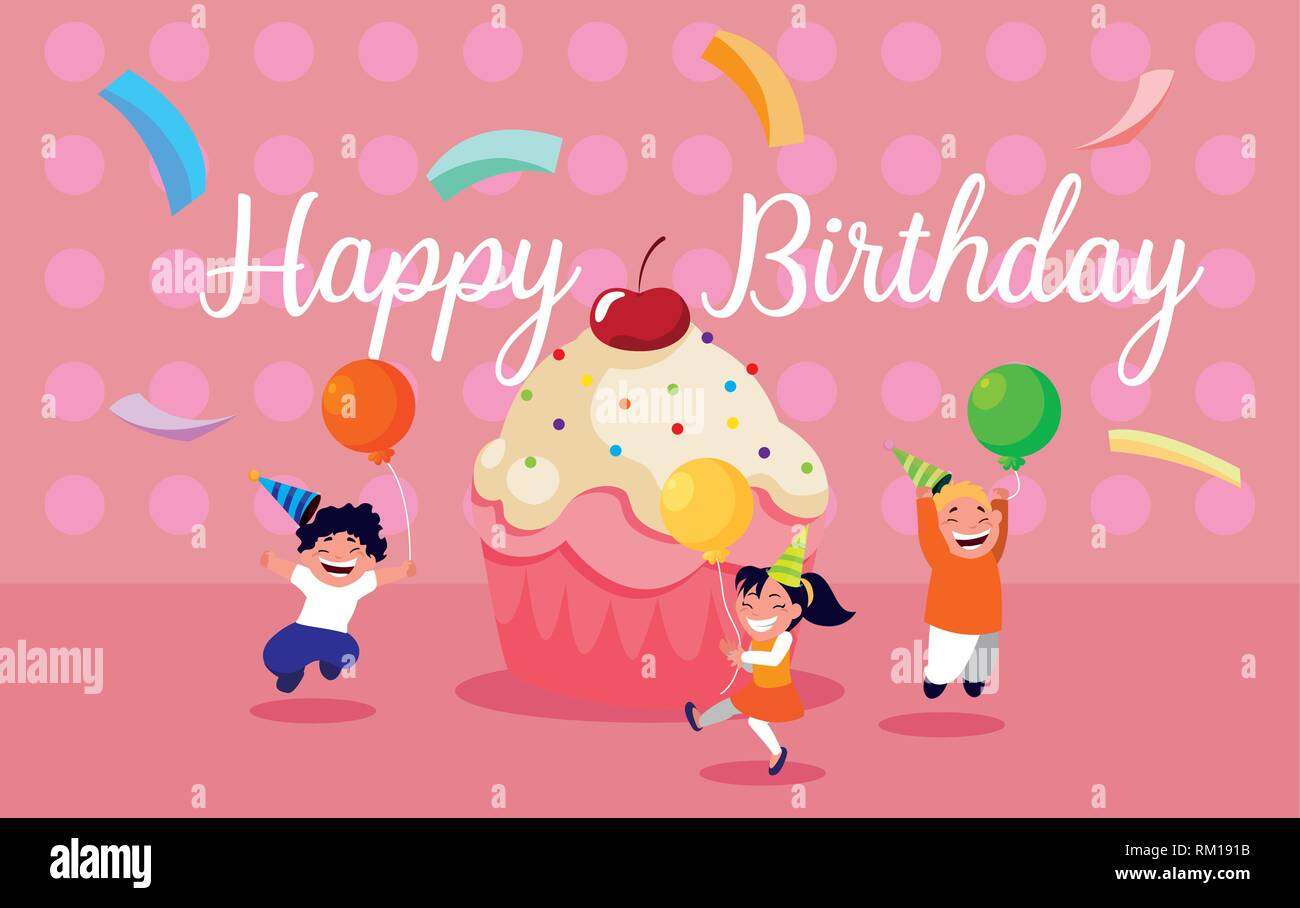 Pleasing Birthday Card With Little Kids Celebrating Vector Illustration Personalised Birthday Cards Paralily Jamesorg