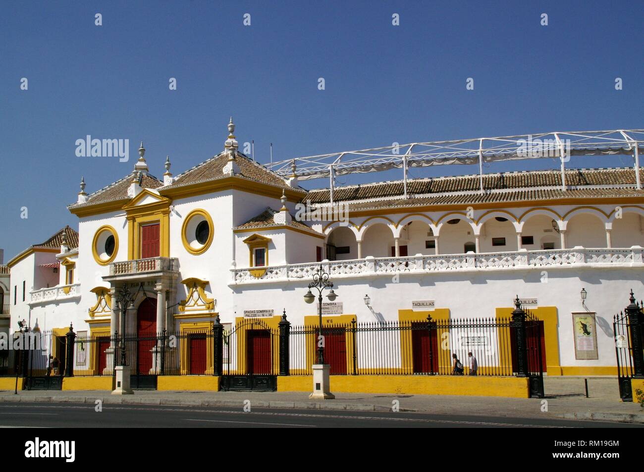 Sevilla (Spain). Exterior of the bullring of the Real Maestranza de Caballería de Sevilla. - Stock Image