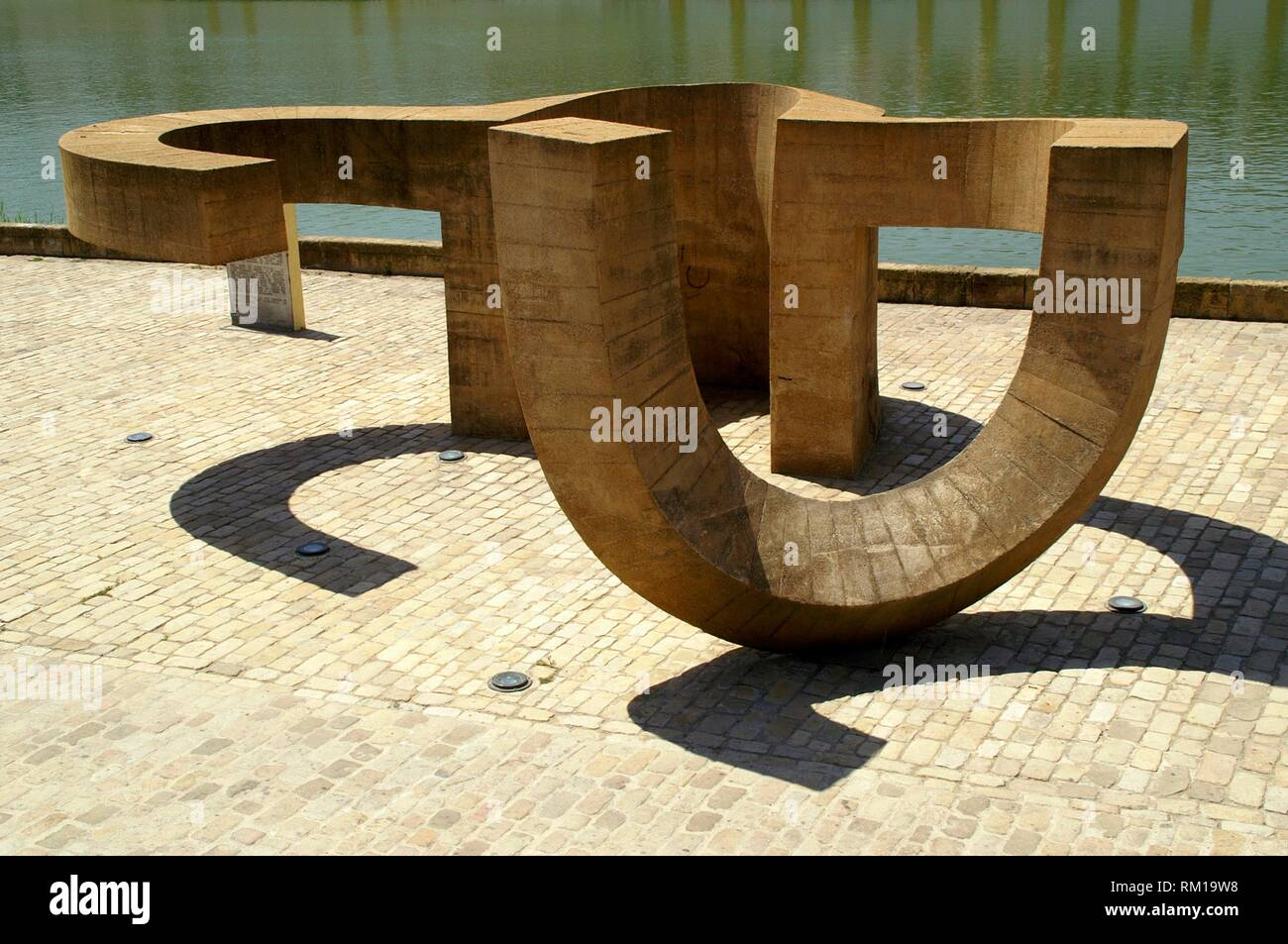 Seville (Spain). Monument to the Tolerance of Eduardo Chillida next to the Guadalquivir river in the city of Seville. - Stock Image