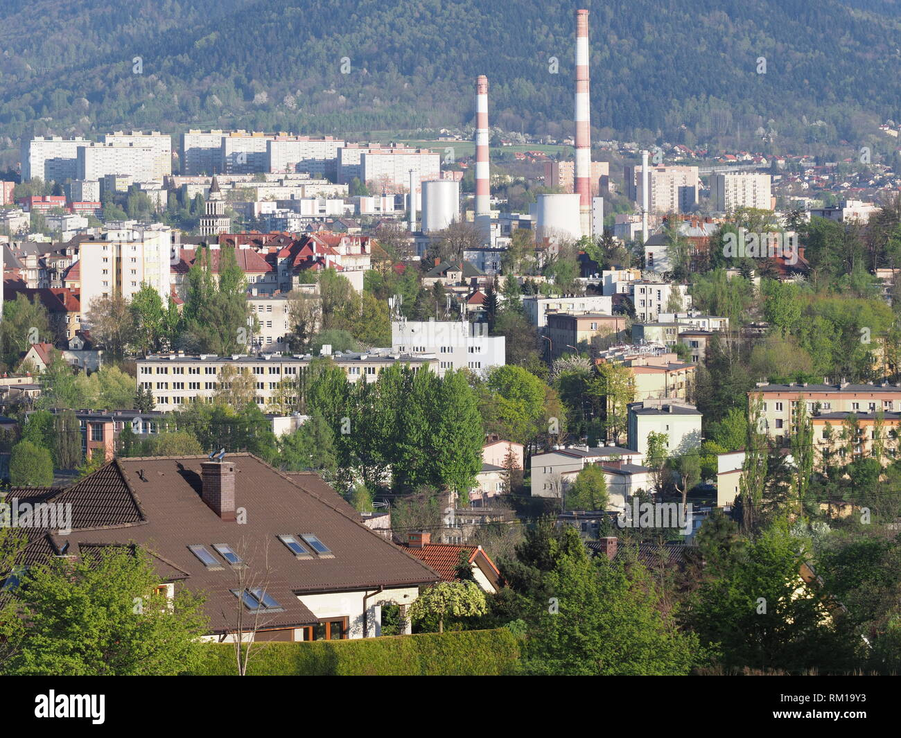View of cityscape panorama of european Bielsko-Biala city and countryside landscape at Beskids in POLAND - Stock Image