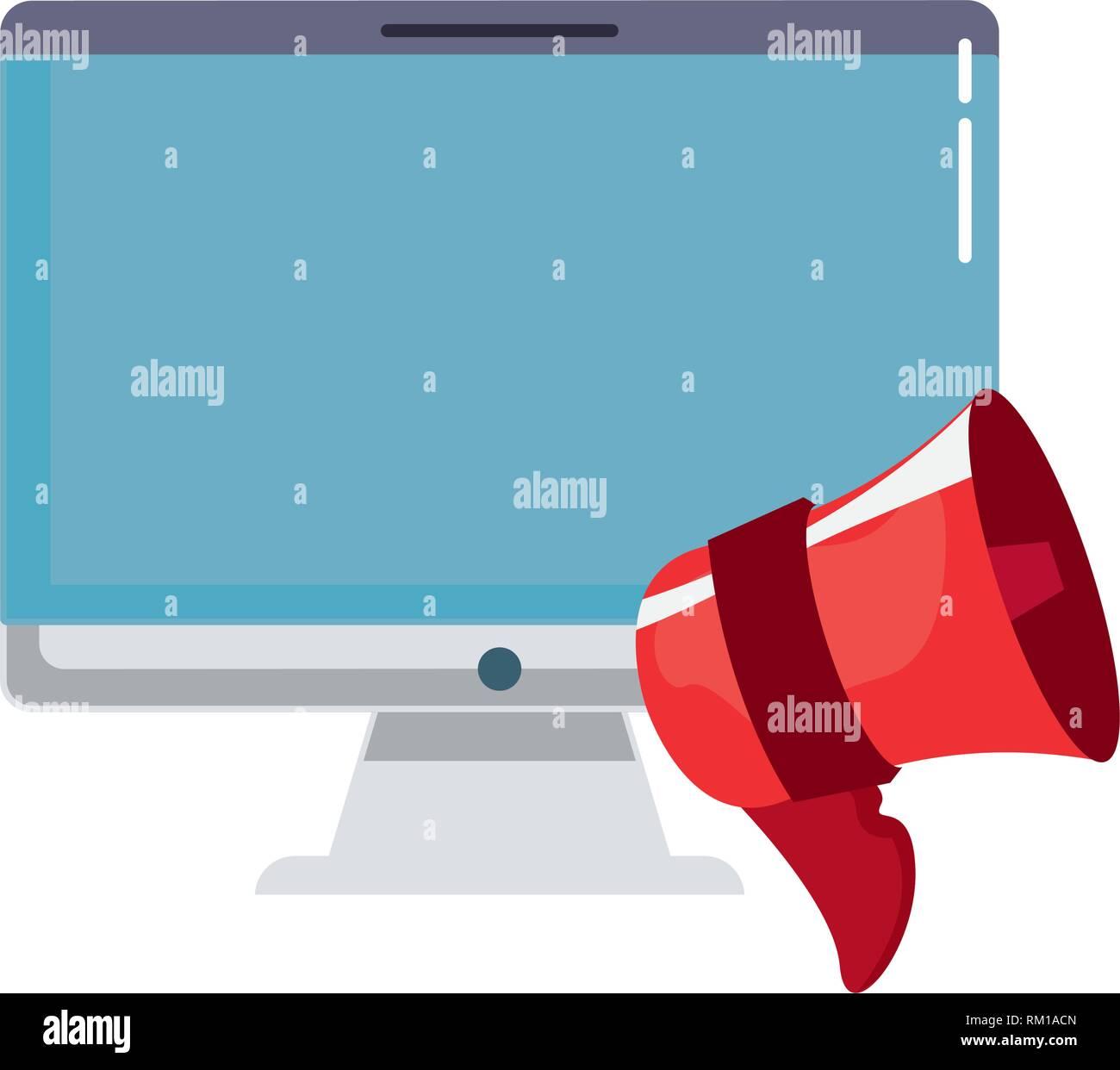 computer speaker online shopping market vector illustration - Stock Image