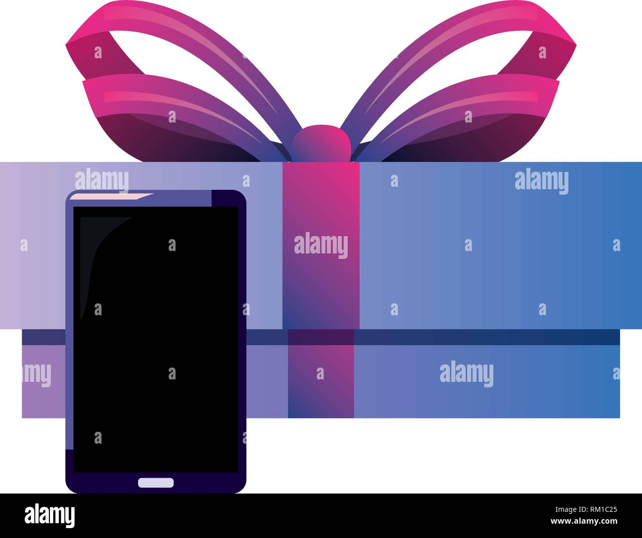 cellphone gift box online shopping market vector illustration - Stock Image