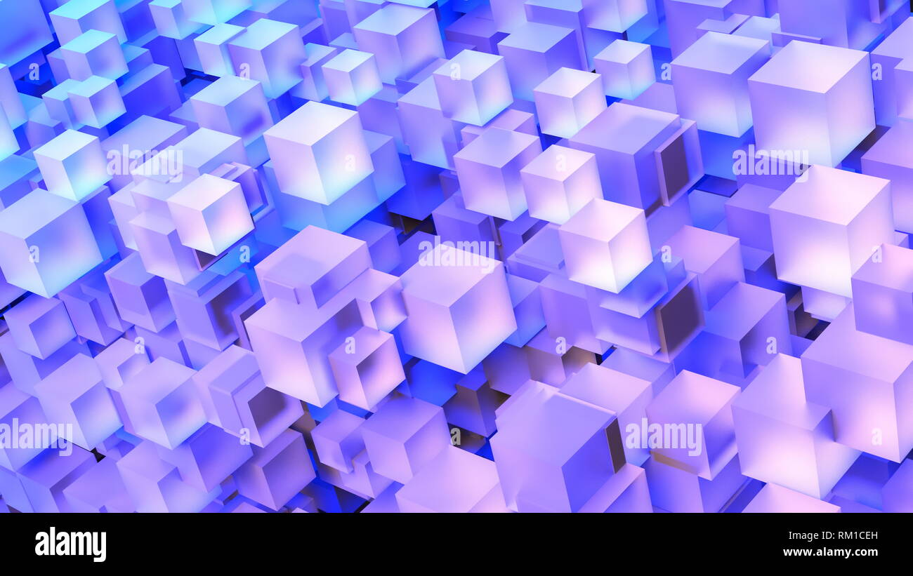 8K UHD Computer Generated 3D Cube Stack Art - Stock Image