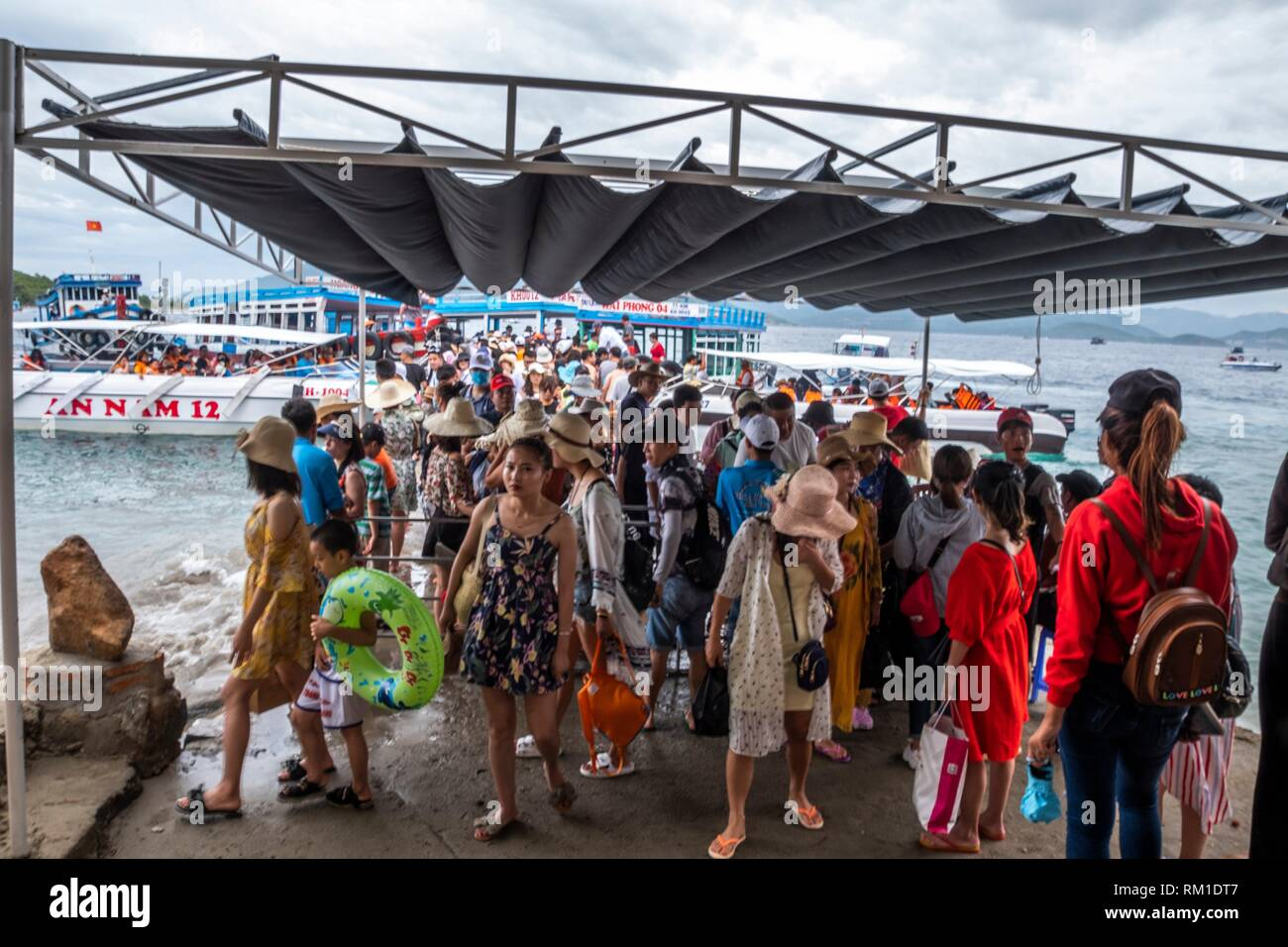 Beach of the island of Hon Mun, Nha Trang Bay, South China Sea, Nha Trang, Vietnam - Stock Image