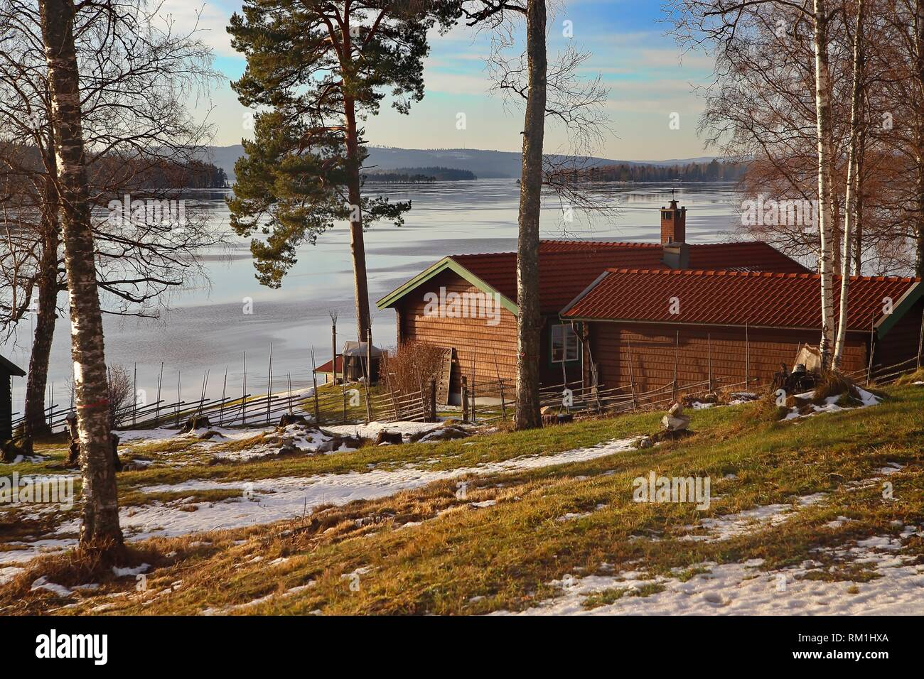 Late winter at Ludvika, Dalarna, Sweden - Stock Image