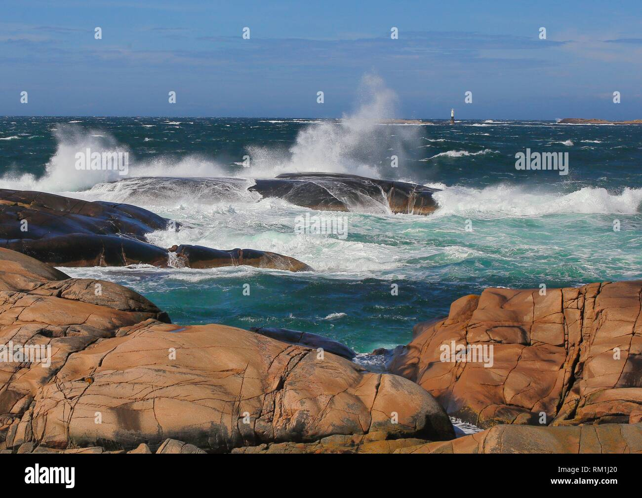 Lighthouse. Windy coast. Sotenas, Bohuslan, Sweden - Stock Image