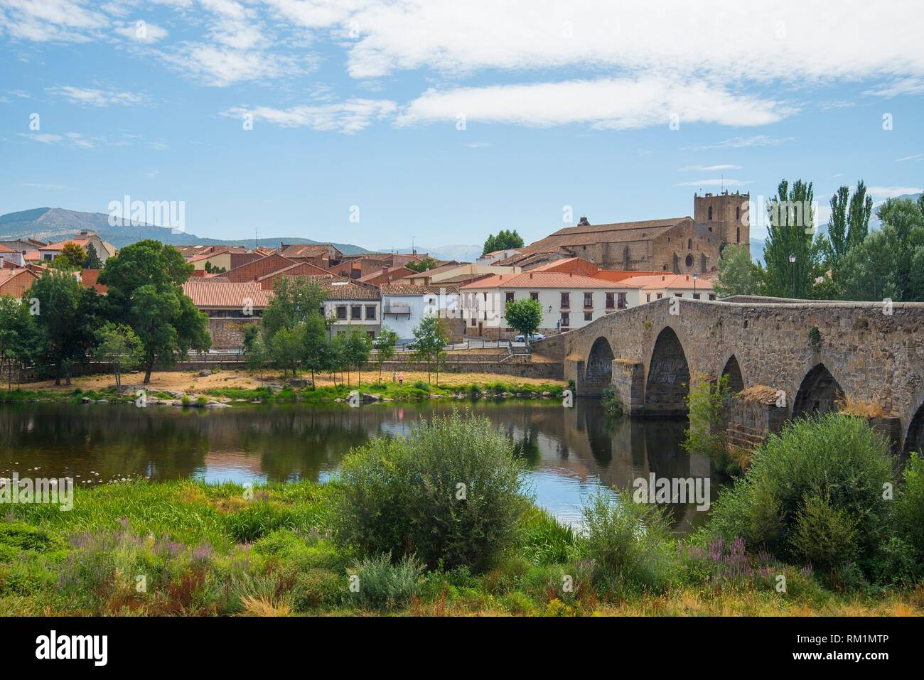 River Tormes Medieval Bridge And Overview Of The Village El Barco