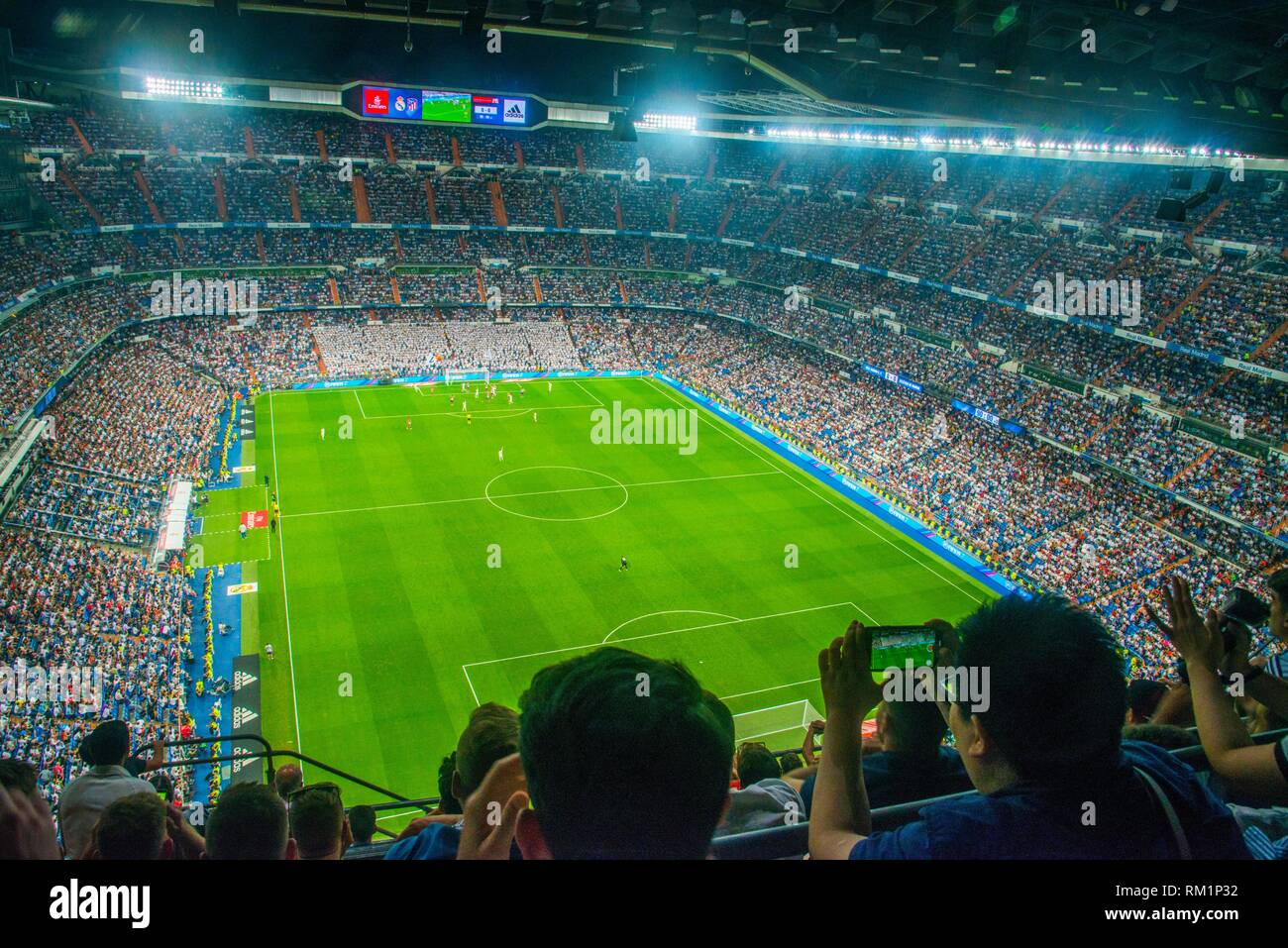Spectators during Real Madrid-Atletico de Madrid football match. Santiago  Bernabeu stadium 4224d5e47cbee