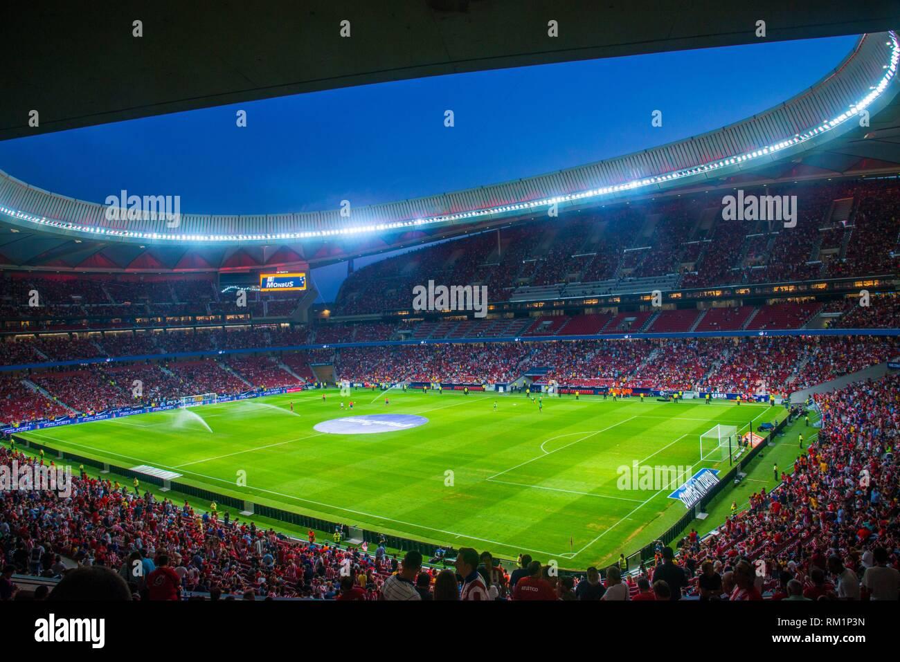 Wanda Metropolitano Stadium before a football match. Madrid, Spain. - Stock Image