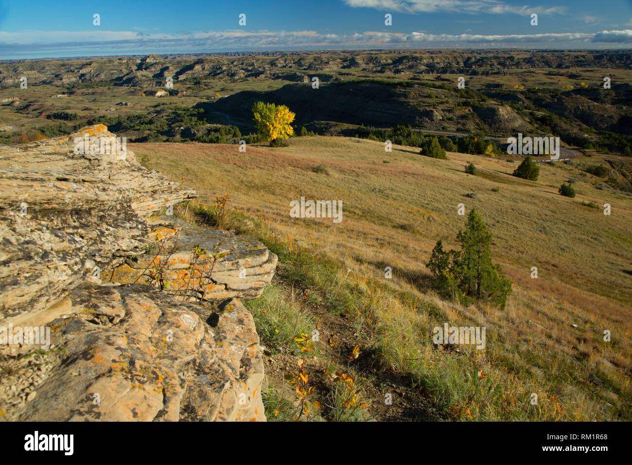 View from Buck Hill, Theodore Roosevelt National Park-South Unit, North Dakota. Stock Photo
