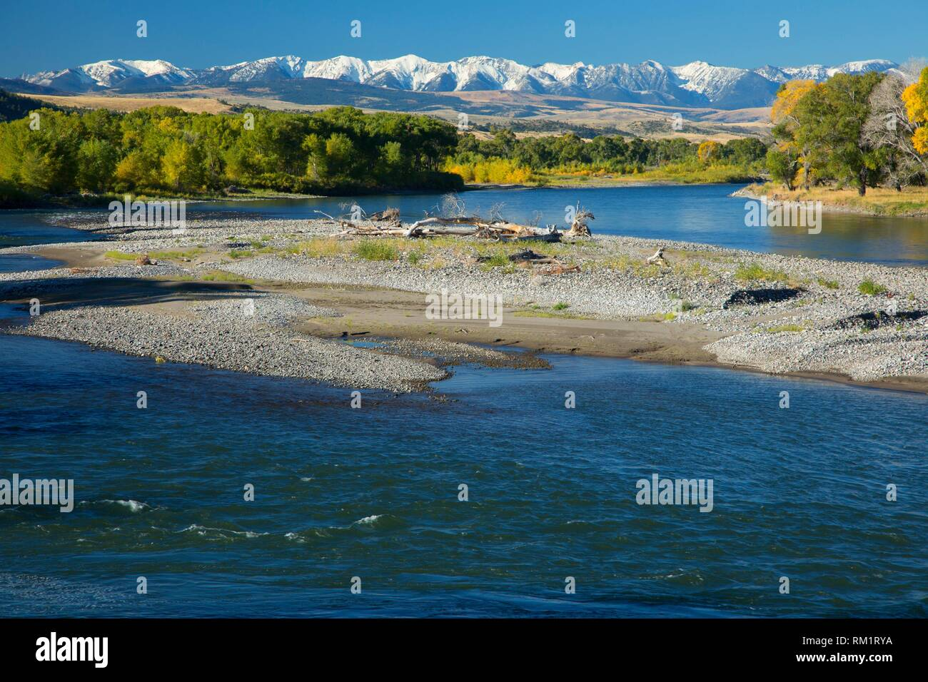 Yellowstone River, Springdale Fishing Access Site, Park County, Montana. - Stock Image