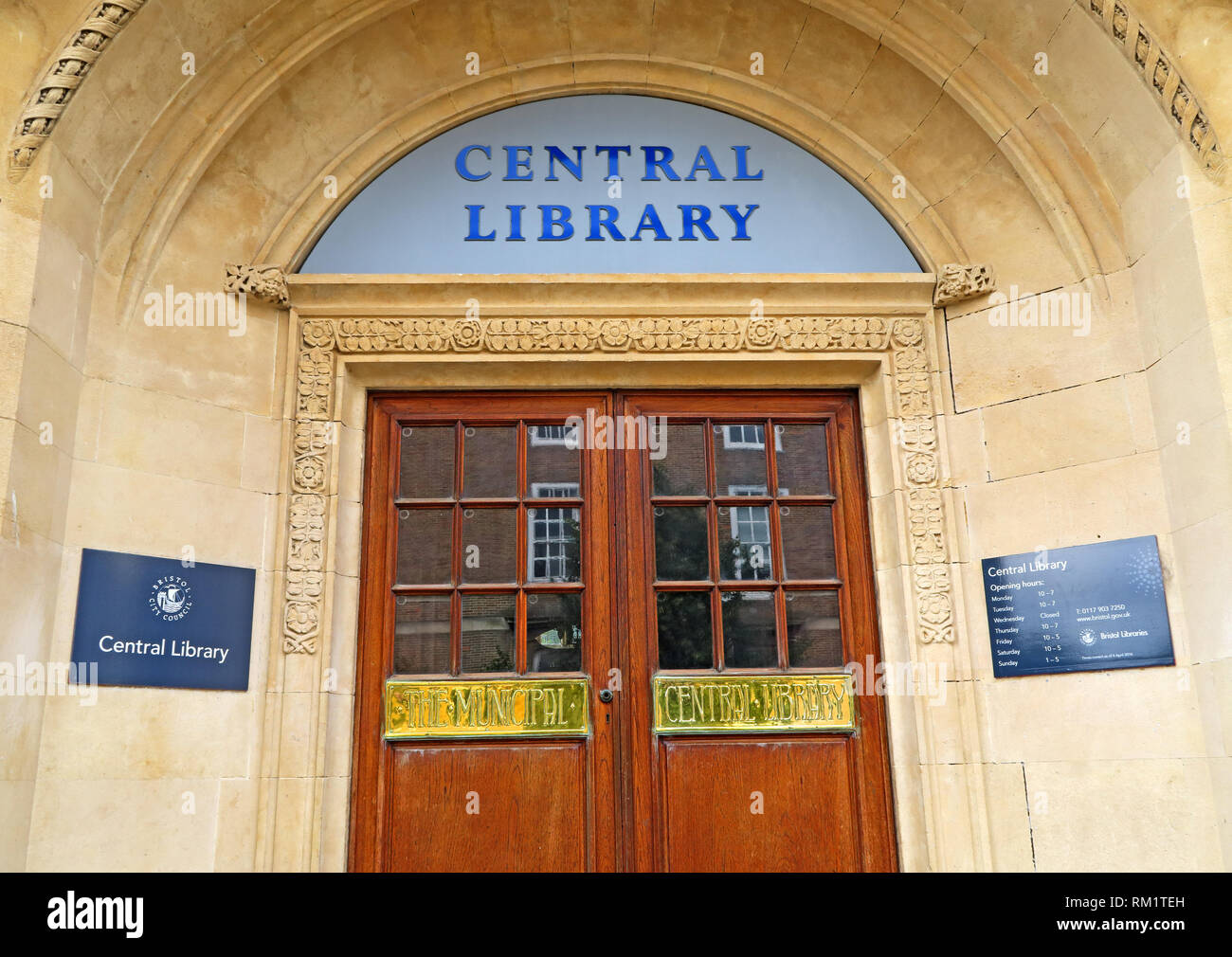Bristol Municipal Central Library, Deanery Road, City Centre, Bristol, South West England, UK, BS1 5TL Built in 1906 by Charles Holden, - Stock Image