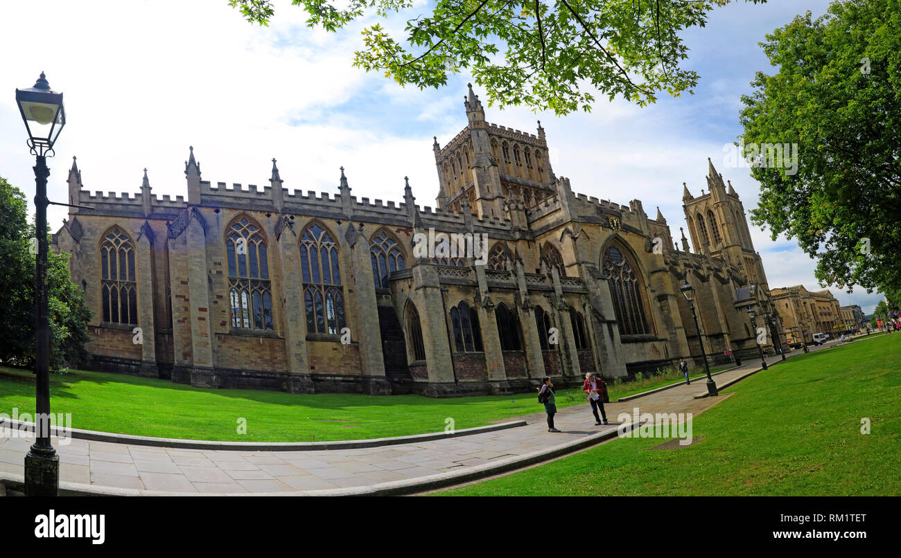 Bristol cathedral panorama, Cathedral Church of the Holy and Undivided Trinity, College Green, Bristol, BS1 5TJ - Stock Image