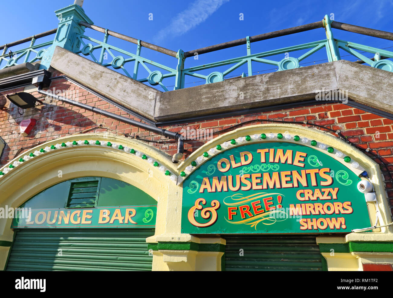 Lounge Bar, Old Time amusements, Free Crazy Mirrors Show, Kings Road Arches, Beachfront, Brighton, East Sussex,South East England, UK - Stock Image