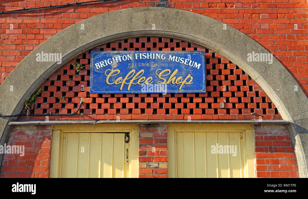 Brighton Fishing Museum, arches and coffee shop, Brighton, West Sussex, South East England, UK - Stock Image