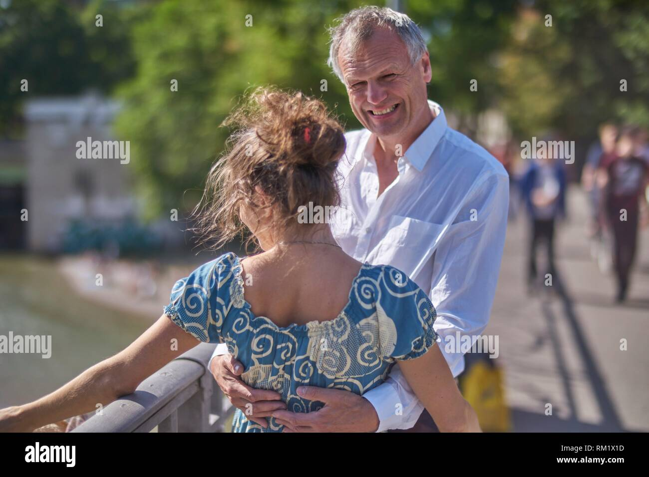 Couple, age difference. Munich, Germany. - Stock Image
