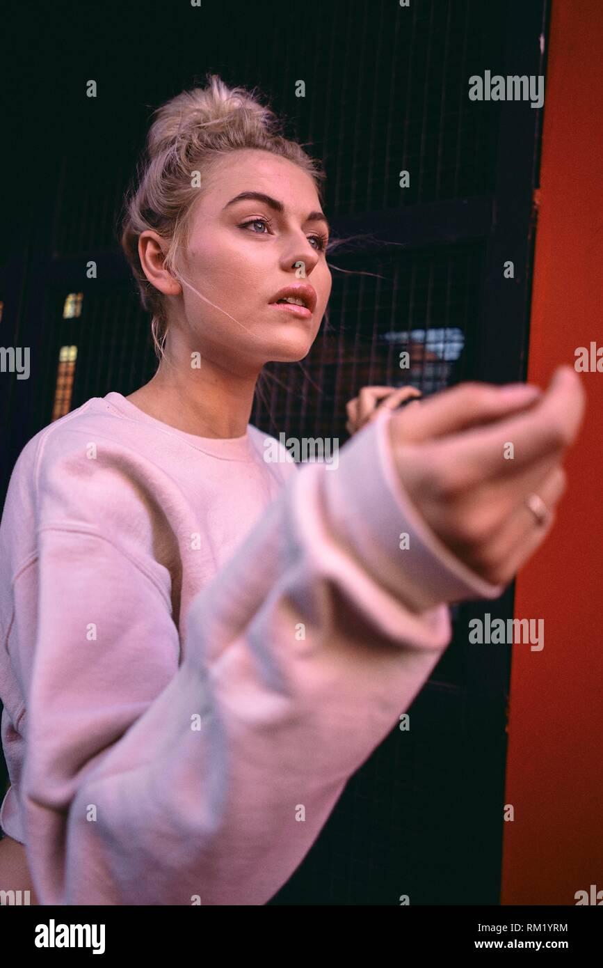 Australia, Adelaide, portrait of women´s fashion blogger and actress Sarah Jeavons, longing, sensitive, feelings - Stock Image