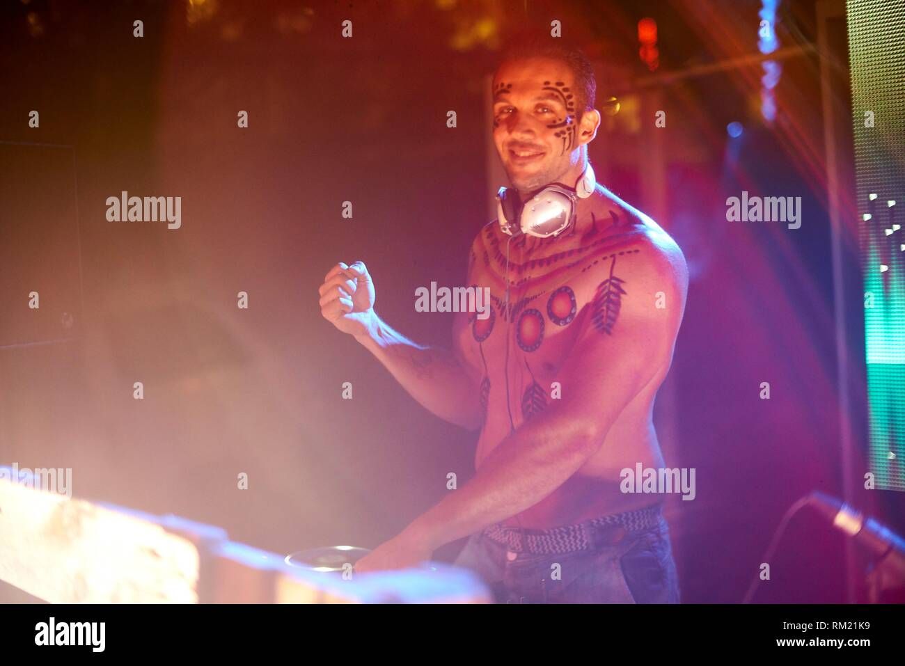 DJ Jason Montanha performing at Tribal Beach Party at Starbeach Chersonissos, Crete, Greece - Stock Image