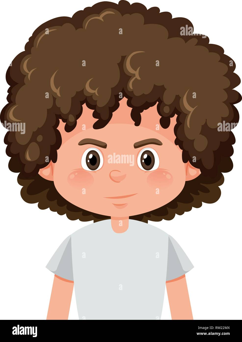 A Brunette Boy Curly Hairstyle Illustration Stock Vector Art