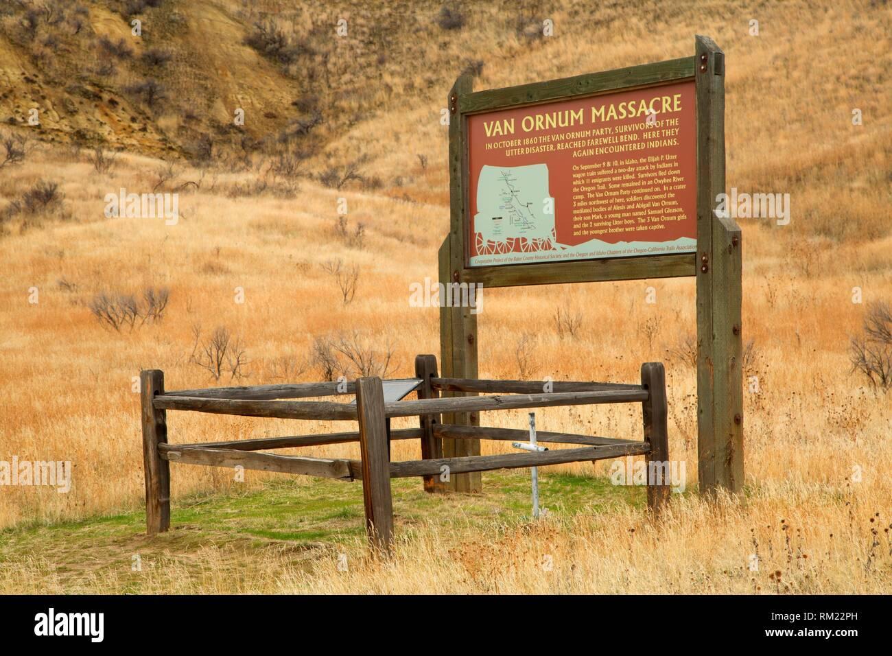 Van Ornum massacre site sign, Oregon Trail National Historic Trail, Vale District Bureau of Land Management, Oregon. - Stock Image