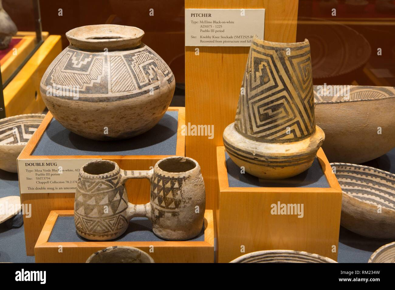 Museum pottery display, Anasazi Heritage Center, Canyons of the Ancients National Monument, Colorado. - Stock Image