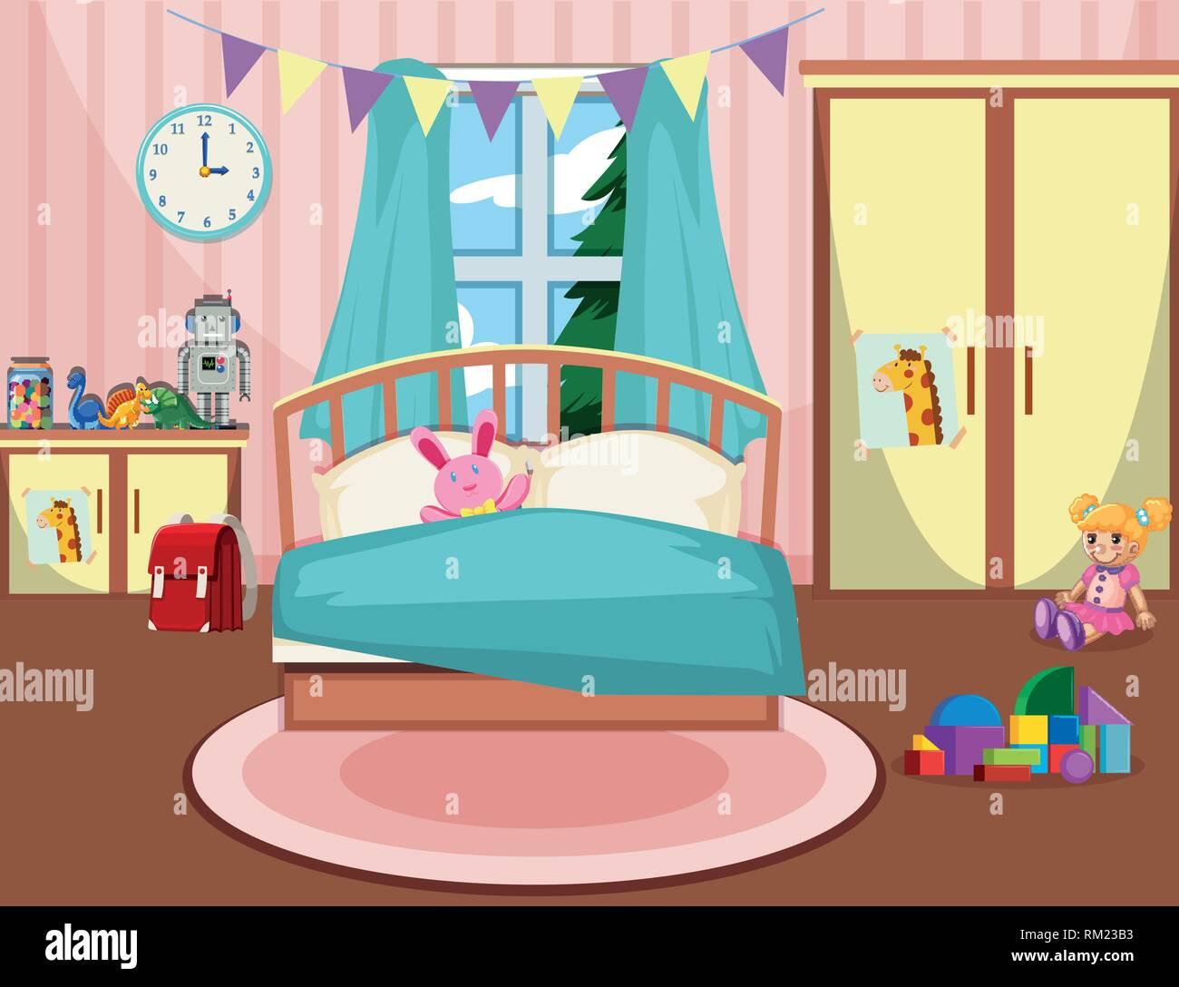 Girls Bedroom Stock Vector Images Alamy