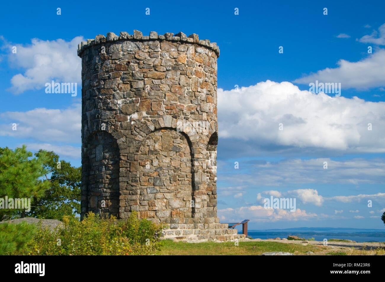 Mt Battie Stone Tower, Camden Hills State Park, Maine. - Stock Image