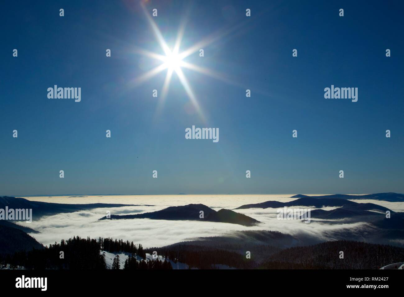 Fog with sunburst from Timberline, Mt Hood National Forest, Oregon. - Stock Image