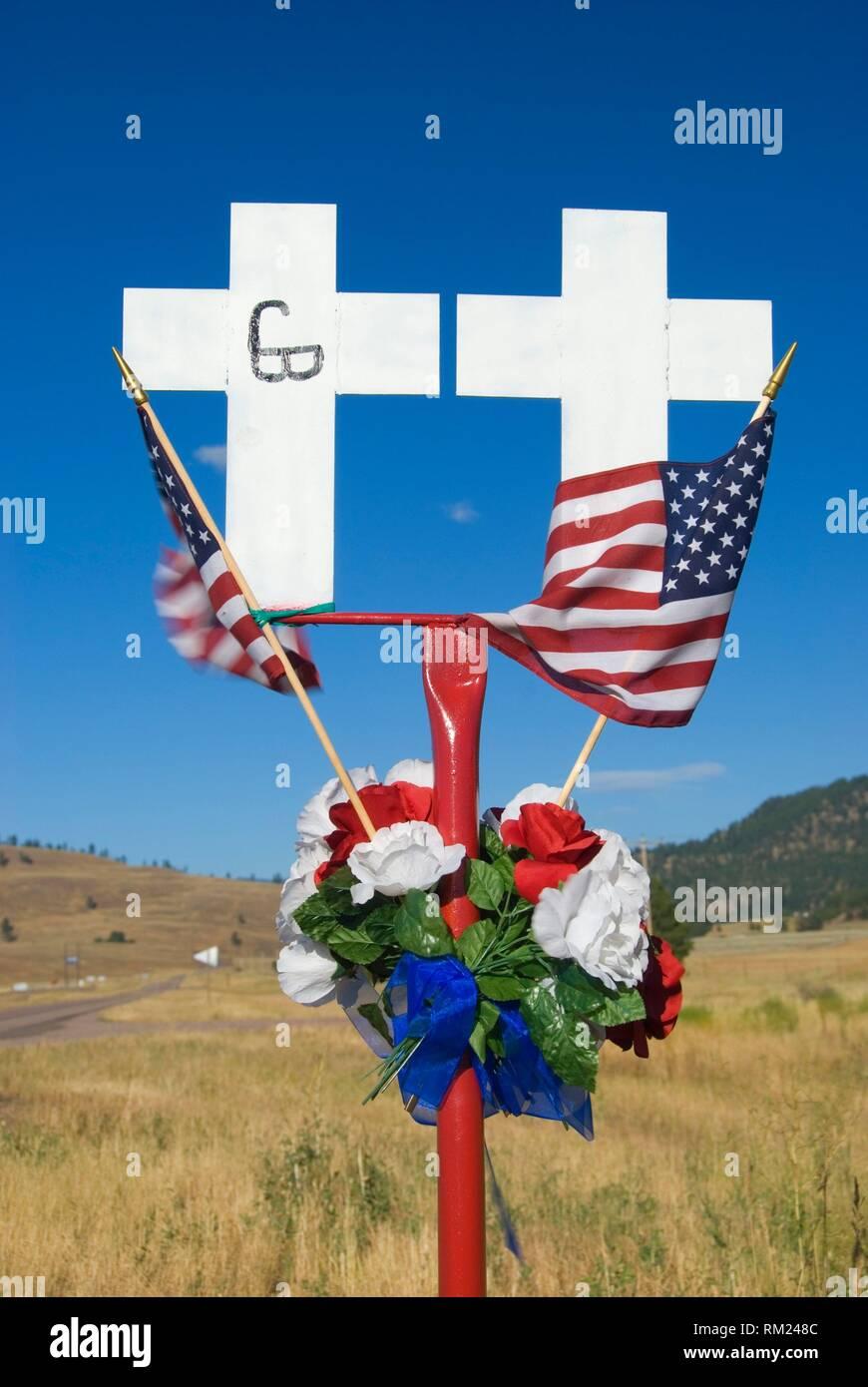 Montana American Legion White Cross Highway Fatality Marker, Missoula County, Montana. - Stock Image