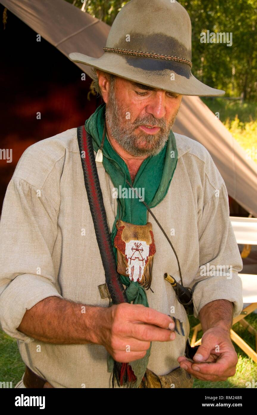 History reenactor, Travelers Rest State Park, Lewis and Clark National Historic Trail, Montana. - Stock Image