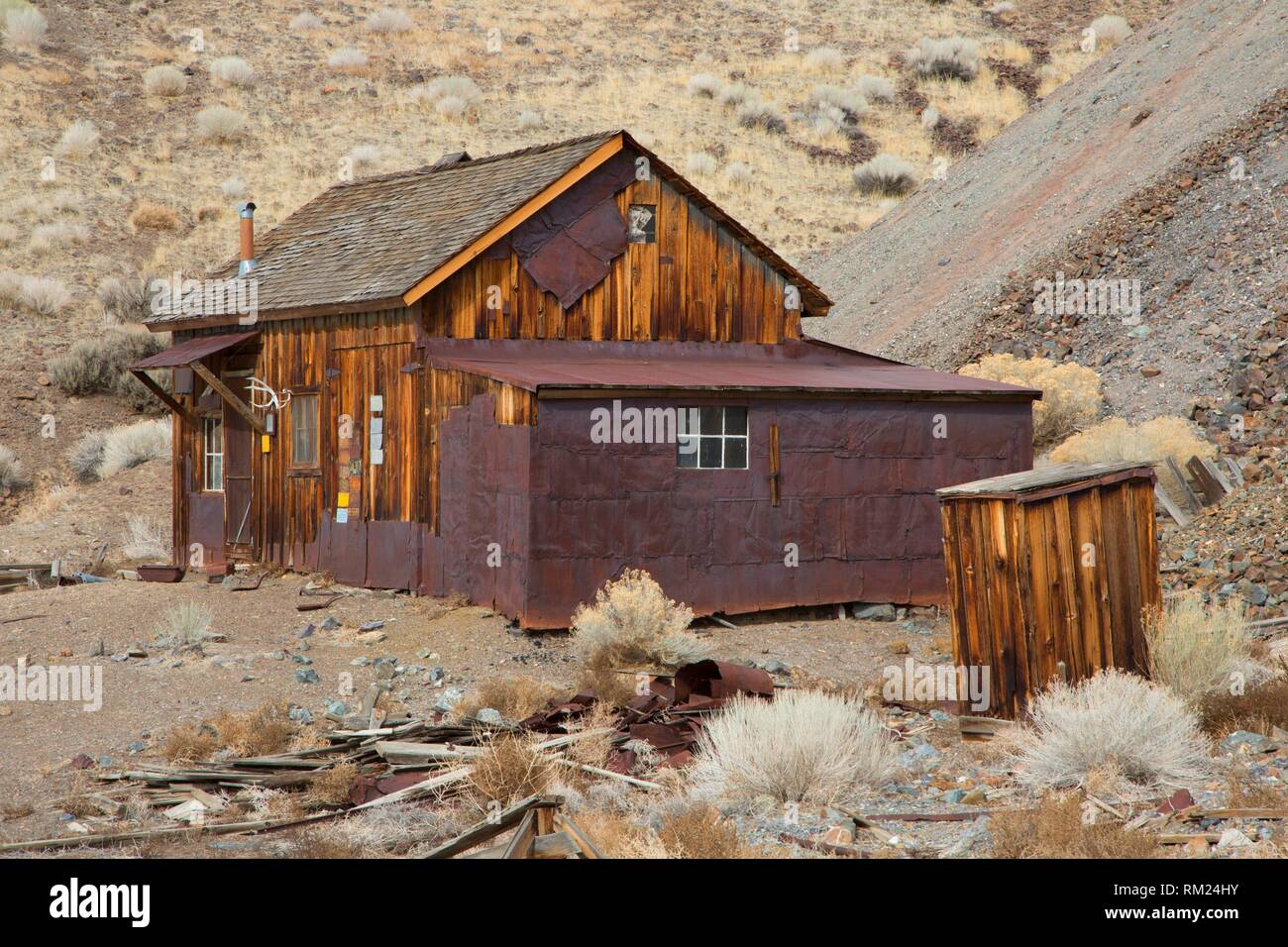 Stagecoach Stop (Tieffel's Cabin), Berlin-Icthyosaur State Park, Nevada. - Stock Image