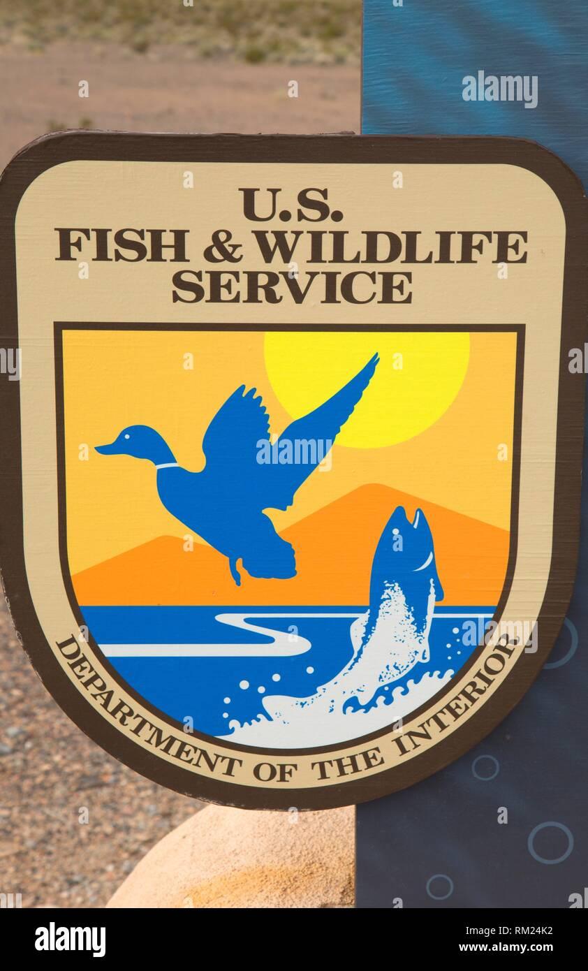 USFWS emblem, Ash Meadows National Wildlife Refuge, Nevada. - Stock Image