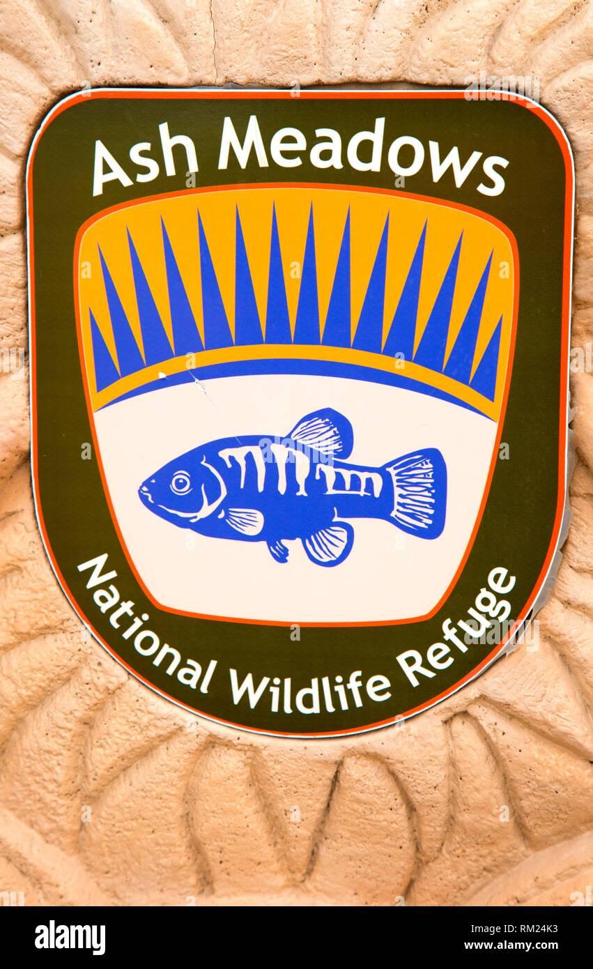 Ash Meadows National Wildlife Refuge emblem, Ash Meadows National Wildlife Refuge, Nevada. - Stock Image