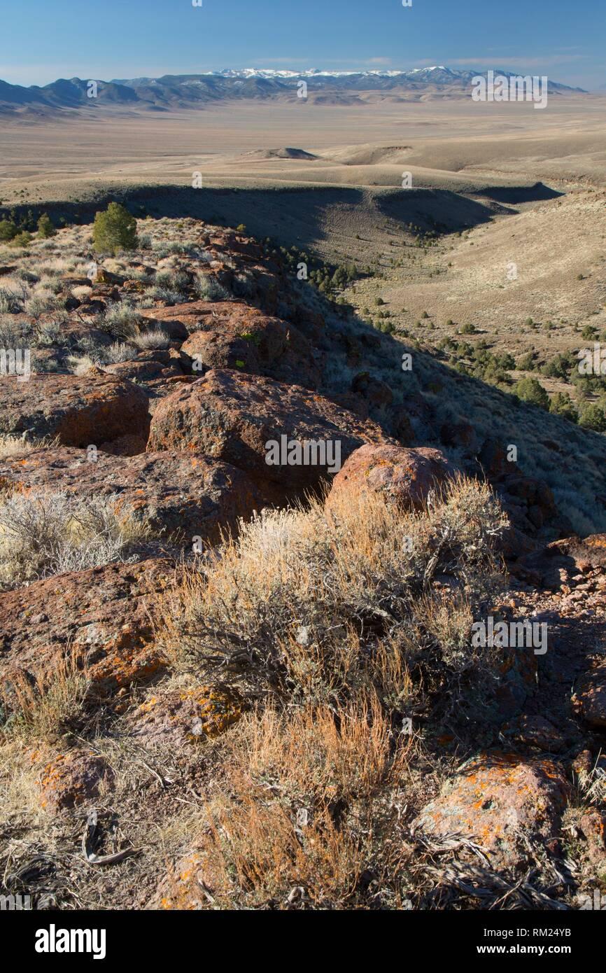 Scenic viewpoint view, Hickison Petroglyphs Recreation Area, Mount Lewis District Bureau of Land Management, Nevada. - Stock Image
