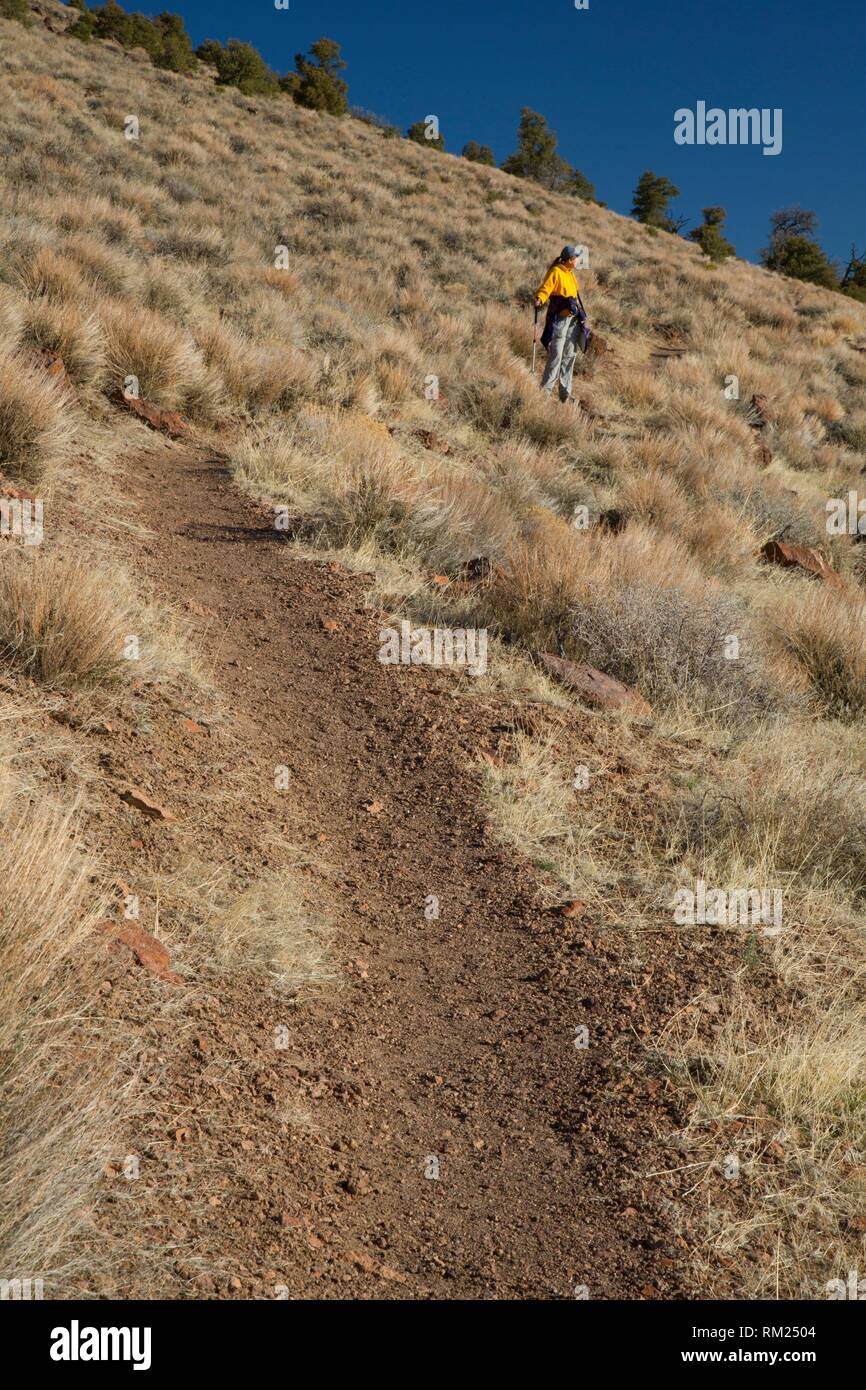 Trail to scenic viewpoint, Hickison Petroglyphs Recreation Area, Mount Lewis District Bureau of Land Management, Nevada. - Stock Image