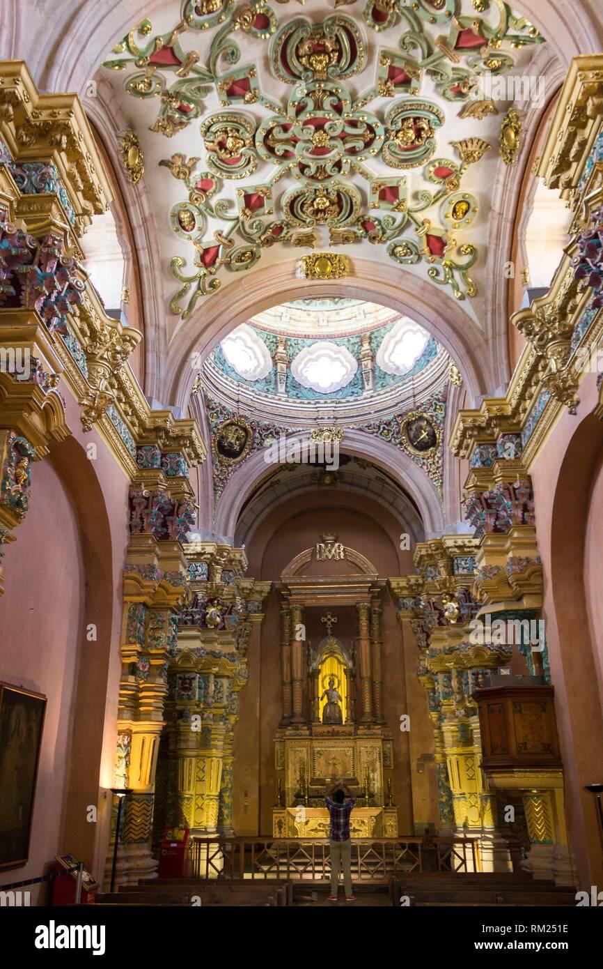 Interior of Church. San Luis Potosí, San Luis Potosí. Mexico. - Stock Image
