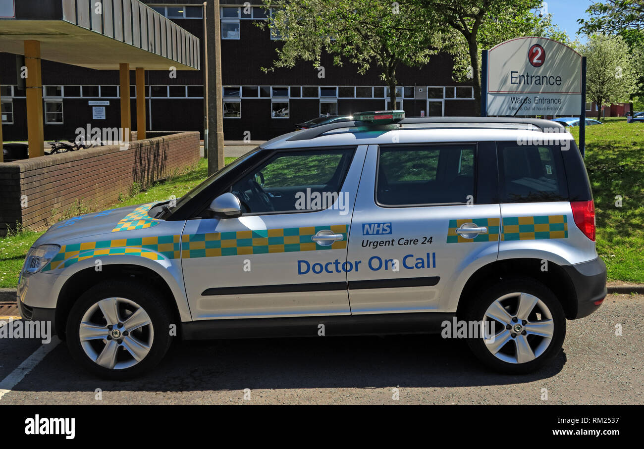 GP out of hours service car, Urgent Care 24,Cheshire and Merseyside Treatment Centre,  Halton Hospital, Runcorn, Cheshire, North West England WA7 2HH - Stock Image
