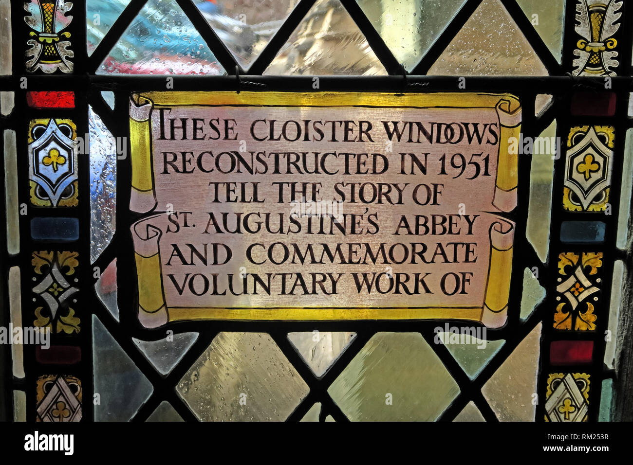 1951 St Augustines Abbey, Stained Glass inscription, Cathedral Church of the Holy and Undivided Trinity , College Green, Bristol, BS1 5TJ - Stock Image