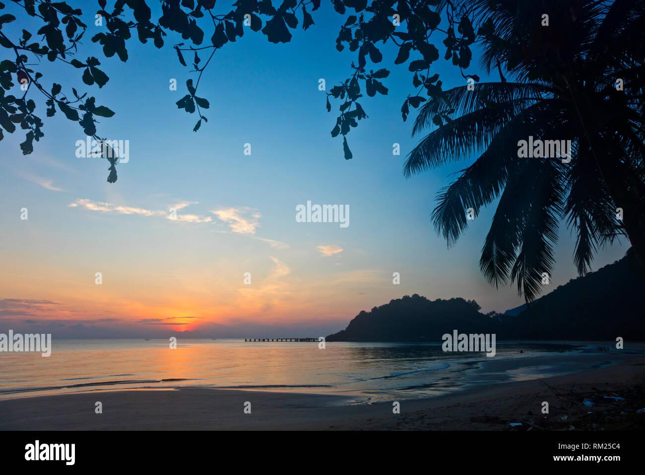 Sunrise on the beach of KHANOM THAILAND - Stock Image
