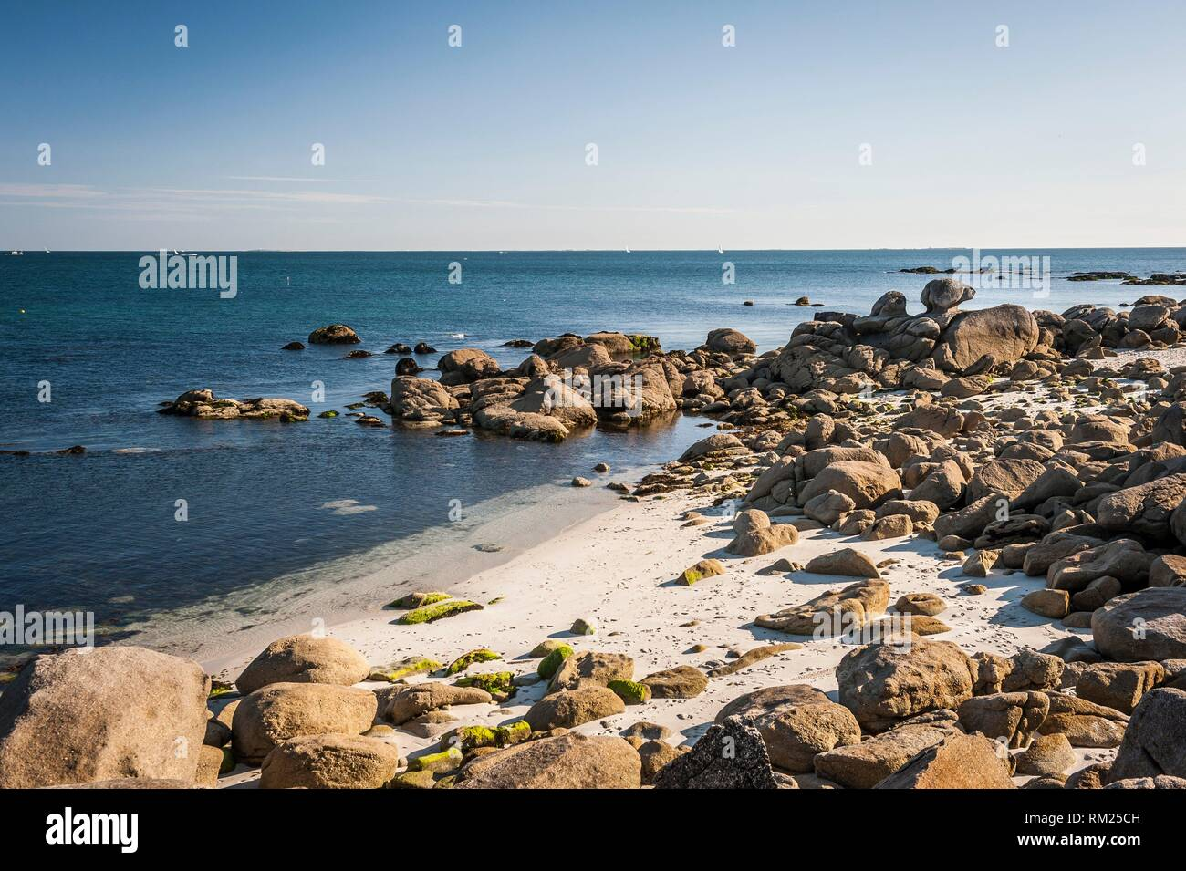 Beg Meil beach in Fouesnant (department of Finistère, region of Bretagne, France). - Stock Image