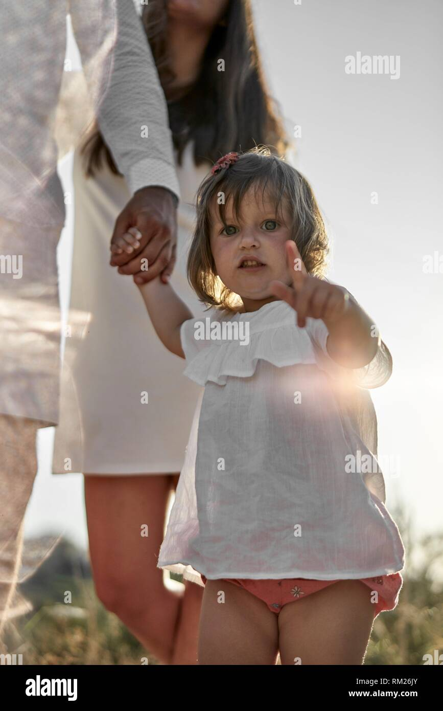 toddler daughter walking on hands of father, exploring, curious - Stock Image