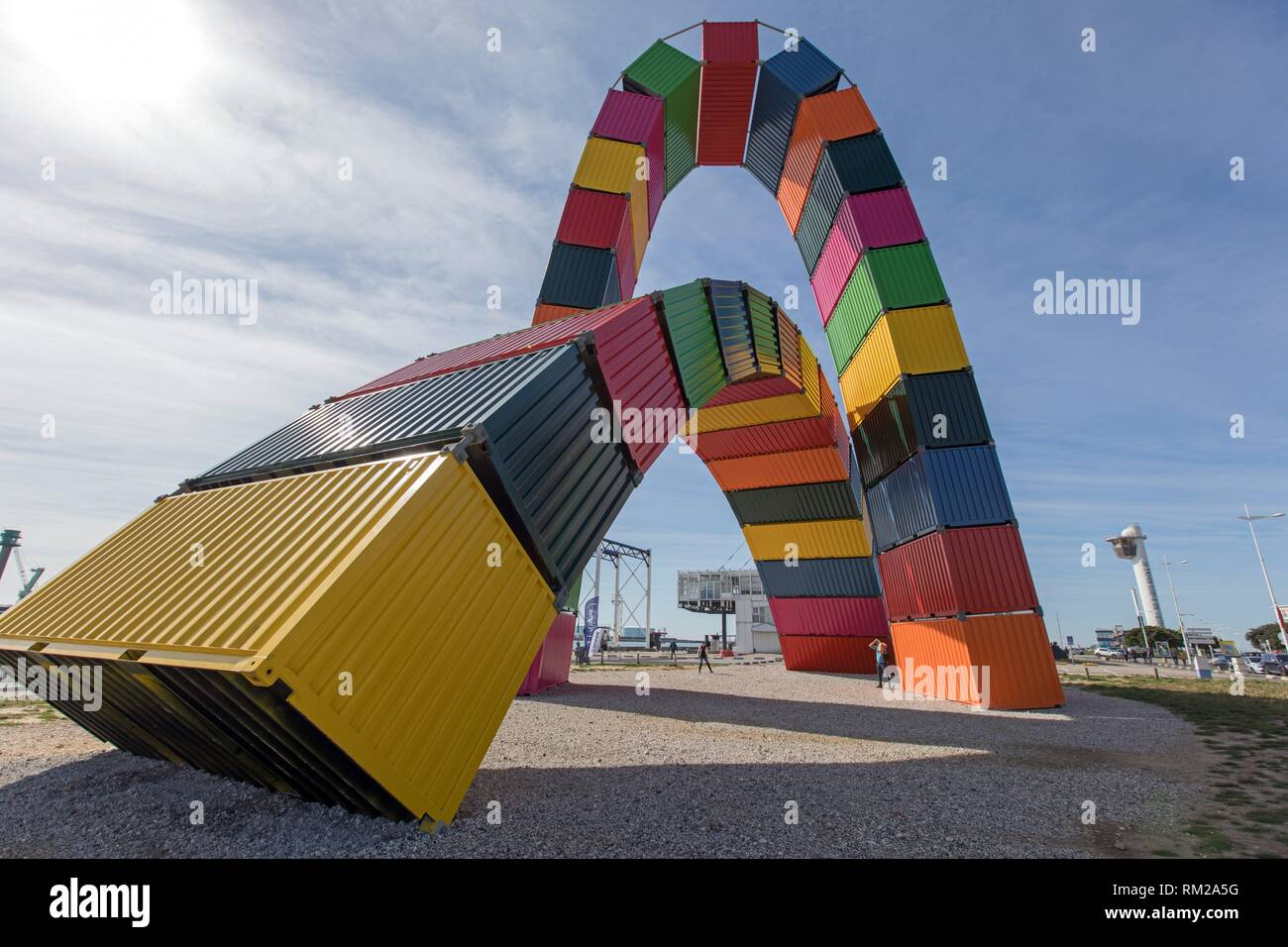 colored container art installation Le Havre harbour - Stock Image